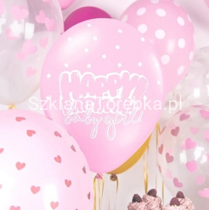 Balony pastelowe Happy Birthday Baby Pink 30 cm / 50 szt.