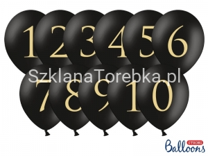 Balony Cyfry Mix Pastel Pure Black 30cm / 11 szt.