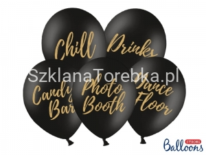 Balony Candy Bar, Chill, Dance Floor, Drinks, Photo Booth, Pastel Black 30 cm / 5 szt.