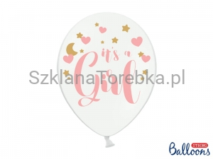 Balony pastelowe It's a Girl Pure White 30 cm / 6 szt.