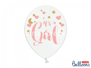 Balony pastelowe It's a Girl Pure White 30 cm / 50 szt.