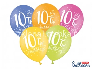 Balony 10th! birthday mix 30 cm / 50 szt.