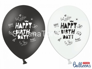 Balony Pastelowe Happy Birthday Black & White 30 cm / 6 szt.