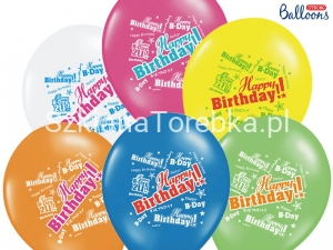 Balony Pastelowe Happy Birthday Mix 30 cm / 6 szt.